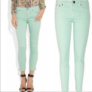 J.Crew Mint Toothpick Ankle Zipper Jeans